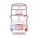 """伦敦标志-红色公共汽车象†""""五颜六色和线性图表 免版税库存照片"""