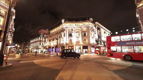 伦敦牛津马戏伟大的夜射击街道视图  股票视频
