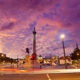 伦敦特拉法加广场日落纳尔逊专栏 免版税图库摄影