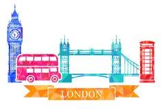 伦敦的传统标志多角形样式的 大本钟,塔桥梁,双层甲板船,红色电话亭 库存照片