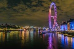伦敦眼侧视图长的曝光 库存图片