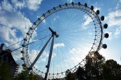 伦敦眼剪影在伦敦,英国 库存图片