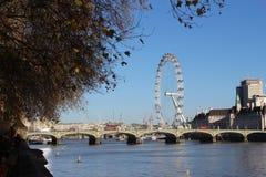 伦敦眼和威斯敏斯特桥梁,伦敦 库存图片
