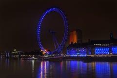 伦敦眼夜 图库摄影