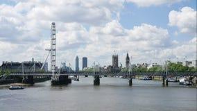 伦敦眼是最高的弗累斯大转轮欧洲、大本钟和西敏寺 影视素材