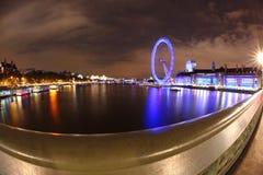 伦敦眼睛在夜间,伦敦,英国 库存照片