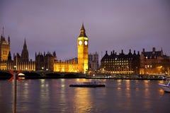 伦敦眼睛,伦敦英国夜视图  库存图片