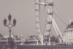 伦敦眼睛,英国, 55mm不同的观点 免版税库存照片