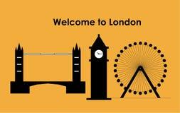 伦敦眼,伦敦大本钟,伦敦桥 免版税库存照片