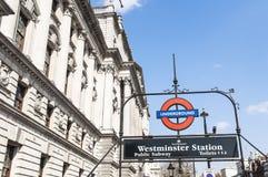 伦敦符号岗位地下威斯敏斯特 库存图片