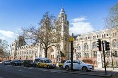 伦敦自然历史博物馆的宽看法在一个晴天 免版税库存照片