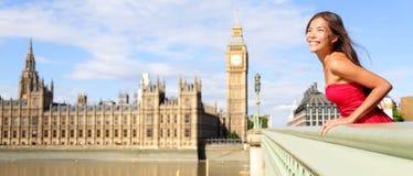 伦敦英国旅行横幅-妇女和大本钟 免版税库存图片
