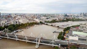 伦敦英国 伦敦全景从伦敦眼的 免版税库存图片
