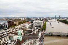 伦敦英国 伦敦全景从伦敦眼的 库存照片
