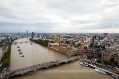 伦敦英国 伦敦全景从伦敦眼的 免版税图库摄影