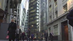 伦敦英国 2017 1月21日,人在工作石灰街道以后回家 股票视频