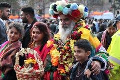 伦敦英国 2016年10月16日, Dewali执行者和场面伦敦节日的市长在特拉法加广场 免版税库存图片