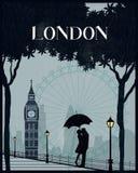 伦敦葡萄酒海报旅行 库存照片