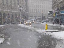 伦敦试剂雪街道 免版税库存图片