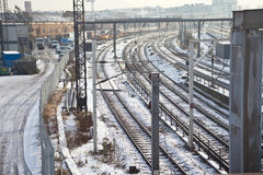 伦敦铁路运输多雪的跟踪 库存图片