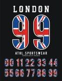 伦敦集合数字旗子英国印刷术设计 库存例证