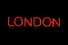 伦敦霓虹灯广告 图库摄影