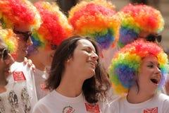 伦敦骄傲游行的参加者 库存照片