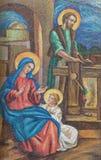 伦敦,大英国- 2017年9月17日:圣洁家庭马赛克的细节在圣皮特圣徒・彼得意大利人教会 免版税库存图片