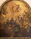 伦敦,大英国- 2017年9月14日:耶稣升天绘画教会圣的养育别名的Vedast 免版税图库摄影