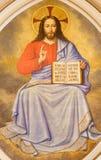 伦敦,大英国- 2017年9月17日:耶稣基督壁画老师在教会圣马丁,由未知的艺术家的Ludgate里 免版税图库摄影