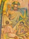 伦敦,大英国- 2017年9月17日:耶稣的复活马赛克在威斯敏斯特大教堂里 免版税库存照片