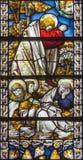 伦敦,大英国- 2017年9月17日:耶稣祷告在Gethsemane庭院里在教会圣詹姆斯西班牙人放 免版税库存图片