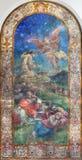 伦敦,大英国- 2017年9月17日:耶稣祷告现代绘画在Gethsemane加尔德角在圣皮特圣徒・彼得意大利人教会 免版税库存图片
