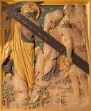伦敦,大英国- 2017年9月17日:耶稣遇见耶路撒冷的妇女作为十字架的驻地 免版税库存照片