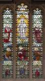 伦敦,大英国- 2017年9月14日:阁下的变貌彩色玻璃的在教会圣Catharine克里人 免版税库存照片