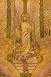 伦敦,大英国- 2017年9月17日:Resurrected耶稣马赛克在威斯敏斯特大教堂里 图库摄影