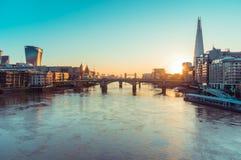 05/11/2017伦敦,英国,日出伦敦视图 图库摄影