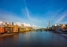 伦敦,英国-中央伦敦全景地平线视图有银行区摩天大楼的  库存照片