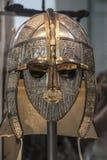 伦敦,英国- 2015年8月02日:从萨顿胡的礼仪盔甲在大英博物馆在伦敦,英国 免版税库存图片