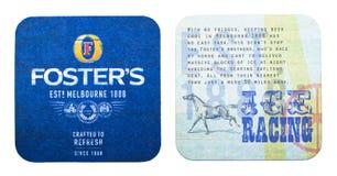 伦敦,英国- 2018年2月04日:养育` s制作了在白色隔绝的啤酒原始的beermat沿海航船 图库摄影