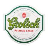 伦敦,英国- 2018年2月04日:在白色隔绝的Grolsch优质储藏啤酒原始的beermat沿海航船 免版税库存照片
