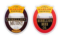 伦敦,英国- 2018年2月04日:在白色隔绝的Marlow啤酒厂beermat沿海航船 图库摄影