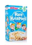 伦敦,英国- 2018年6月01日:箱凯洛格` s米Krispies在白色的早餐谷物 免版税库存照片