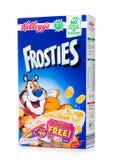 伦敦,英国- 2018年6月01日:箱凯洛格` s Frosties在白色的早餐谷物 Frosties是做的普遍的早餐谷物fr 免版税库存图片