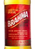伦敦,英国- 2018年1月10日:装瓶Brahma巴西啤酒标签在白色的 在1888年建立了 库存图片
