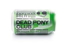 伦敦,英国- 2018年1月02日:Brewdog死的小马俱乐部啤酒铝罐,从白色的Brewdog啤酒厂 库存照片