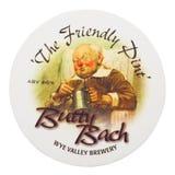 伦敦,英国- 2018年2月04日:Butty巴赫Y形支架谷啤酒厂在白色隔绝的beermat沿海航船 免版税库存图片