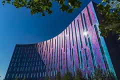 伦敦,英国- 2018年7月15日:Excel中心的陈列和五颜六色国际的会议中心明亮和 库存照片