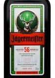 伦敦,英国- 2017年11月03日:Jagermeister标签在白色的 德国digestif做用56个草本和香料 免版税库存图片
