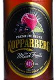 伦敦,英国- 2018年3月10日:Kopparberg优质萍果汁冷的瓶标签与混杂的果子味道的在白色 免版税库存图片